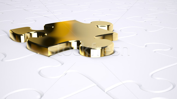 Goud een puzzel sleutel succes Stockfoto © hyrons