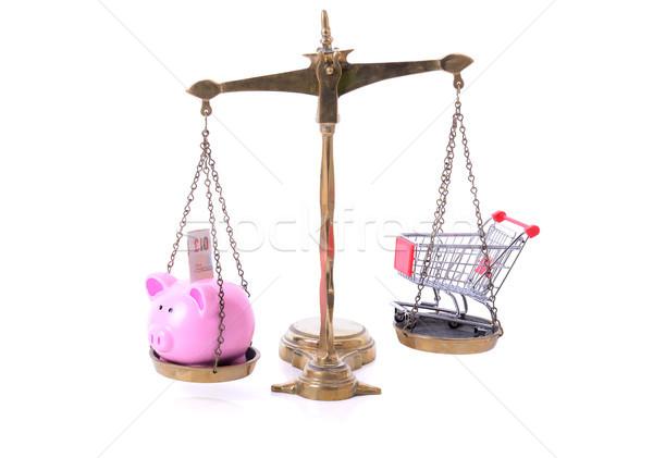 Alışveriş tasarruf kumbara alışveriş sepeti terazi Stok fotoğraf © hyrons
