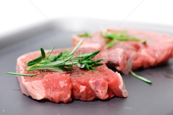 Kettő ízletes bárány rozmaring öntet kész Stock fotó © hyrons