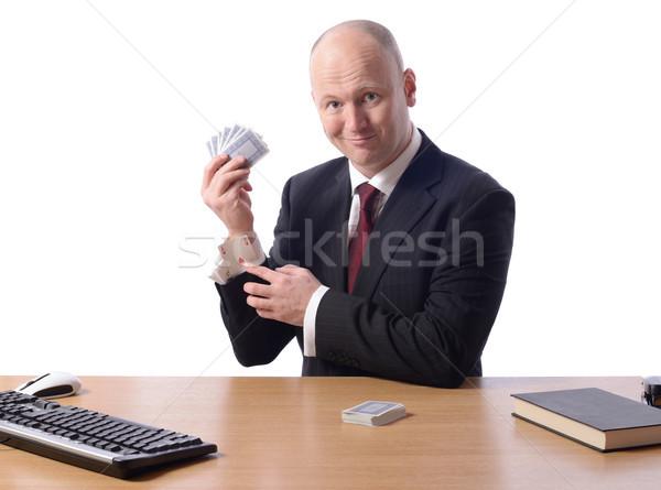 Kéz üzletember nyerő üzlet mosoly billentyűzet Stock fotó © hyrons