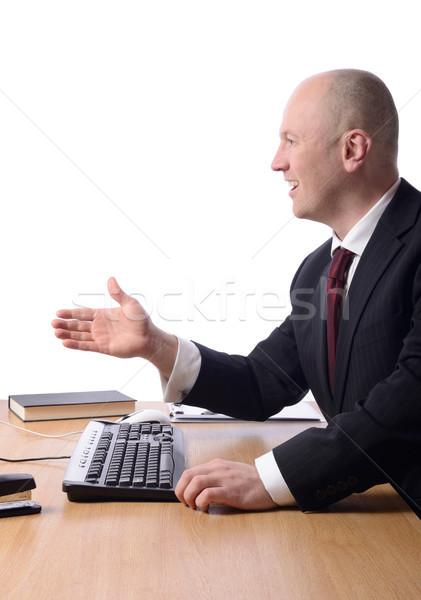 Profiel hand te schudden zakenman bureau hand uit Stockfoto © hyrons