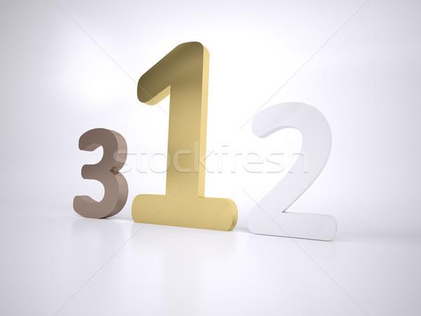 123 három számok bronz ezüst arany Stock fotó © hyrons