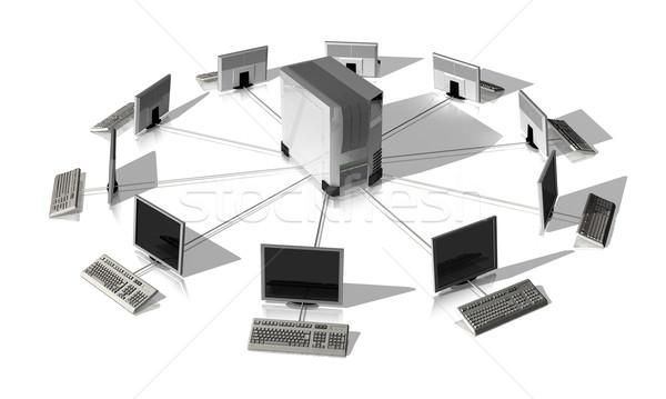 Ağ Sunucu etrafında yalıtılmış beyaz Internet Stok fotoğraf © hyrons