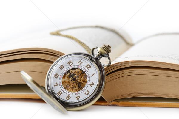 Olvas idő öreg zsebóra nyitott könyv könyv Stock fotó © hyrons