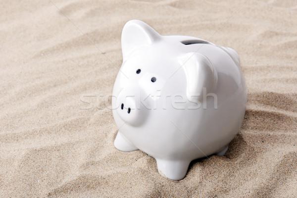 Tatil para kumbara kum yukarı Stok fotoğraf © hyrons