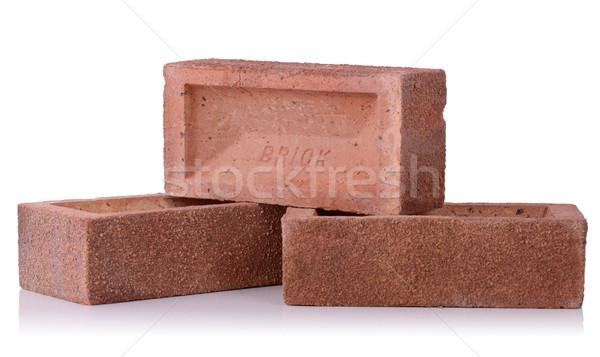 Bakstenen drie baksteen geïsoleerd witte bouw Stockfoto © hyrons