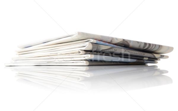 újság köteg alulról fotózva lövés hírek papírok Stock fotó © hyrons