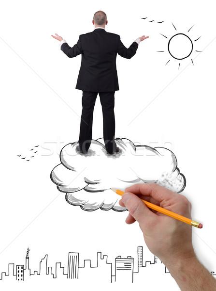 Buisness gelecek işadamı ayakta bulut silah Stok fotoğraf © hyrons