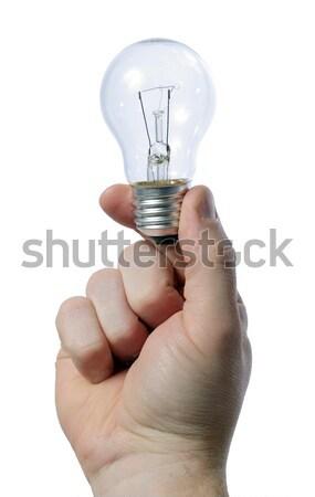 Ampul adam el iş ışık Stok fotoğraf © hyrons