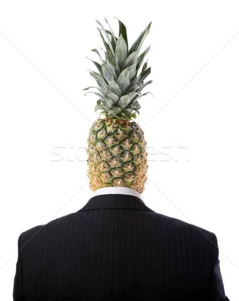Ananas hoofd man geïsoleerd witte Stockfoto © hyrons