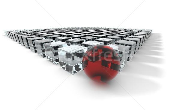 Kırmızı lider bir küre grup Stok fotoğraf © hyrons