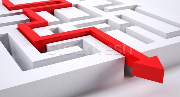 út labirintus piros nyíl készít helyes Stock fotó © hyrons
