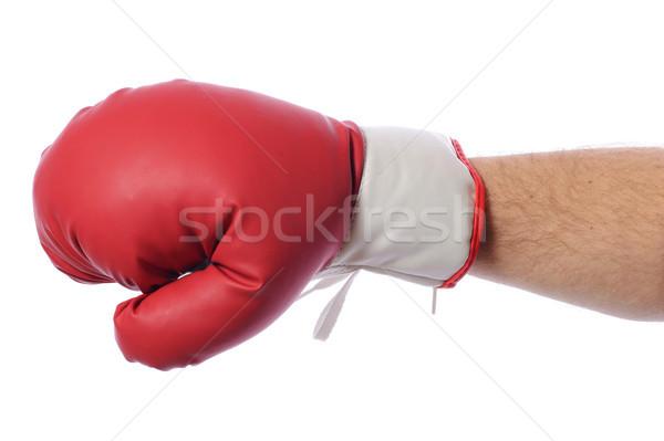 Kırmızı boks eldivenleri eller beyaz el Stok fotoğraf © hyrons