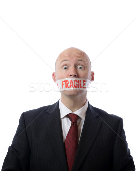 Stock photo: fragile tape mouth