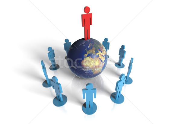Wereld leider geïsoleerd witte wereldbol zakenlieden Stockfoto © hyrons