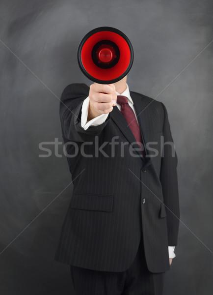 Haber işadamı megafon yayın erkekler kırmızı Stok fotoğraf © hyrons