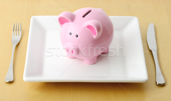 Yeme para kumbara plaka çatal bıçak Stok fotoğraf © hyrons