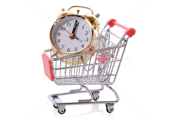 óra vásárlás az idő pénz bevásárlókocsi izolált fehér Stock fotó © hyrons