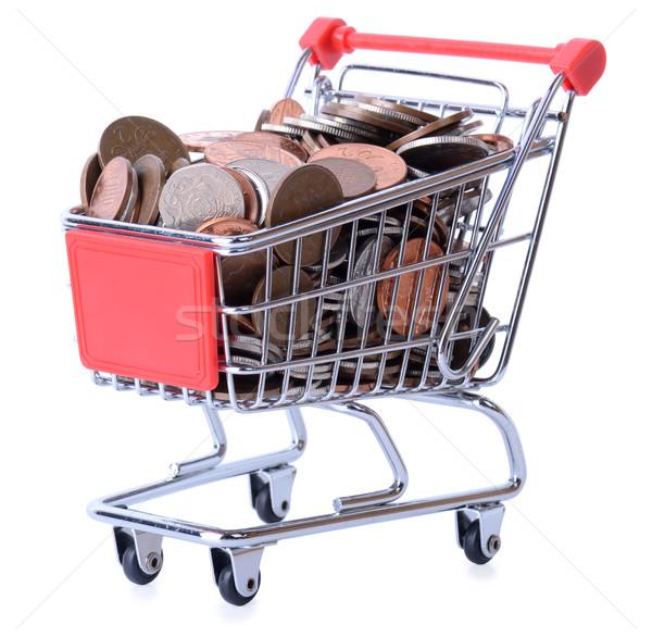 Alışveriş para alışveriş sepeti tok yalıtılmış beyaz Stok fotoğraf © hyrons