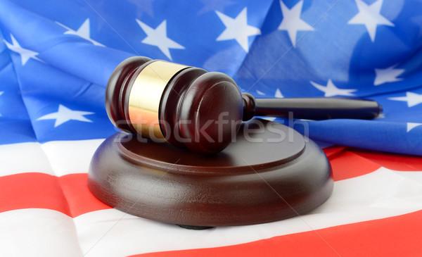 Hukuk bayrak Amerika Birleşik Devletleri Amerika tokmak ahşap Stok fotoğraf © hyrons