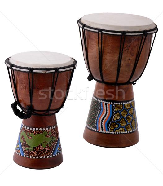 Twee drums geïsoleerd witte hout dans Stockfoto © hyrons