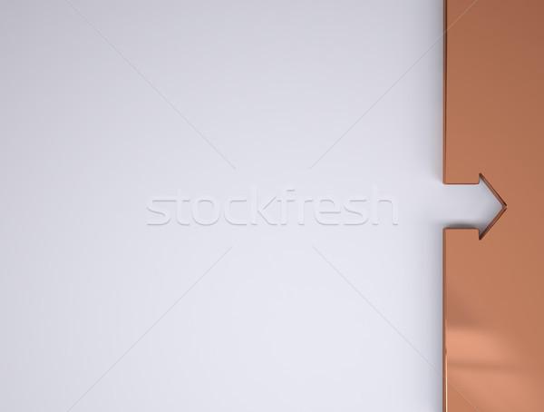 Keret papír copy space réz ház nyíl Stock fotó © hyrons