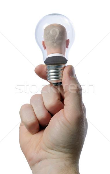 Ampul adam işadamı yardım işçi lamba Stok fotoğraf © hyrons