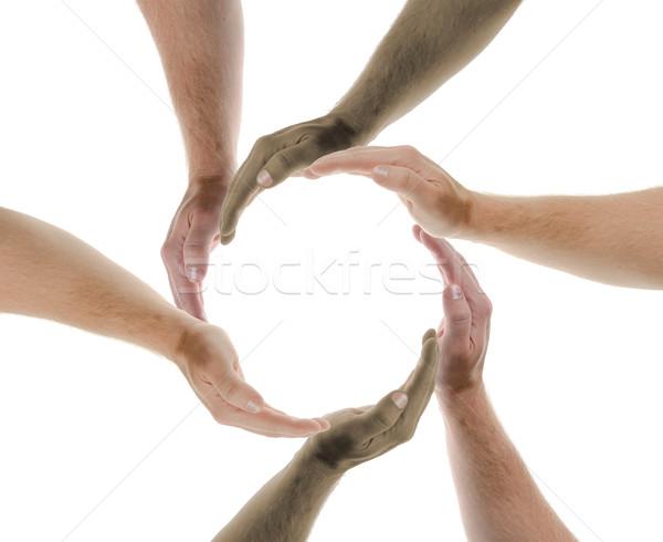 Együtt dolgozni absztrakt közösség védelem kör fotózás Stock fotó © hyrons