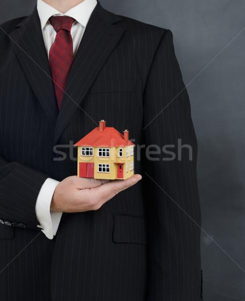 Adam takım elbise ev gayrimenkul Stok fotoğraf © hyrons