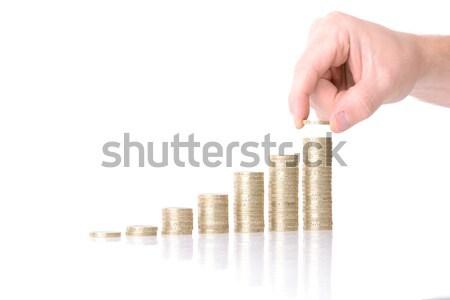 Munt grafiek hand meer geld groei Stockfoto © hyrons