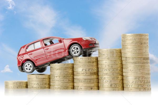 Autó pénz piros mászik felfelé diagram Stock fotó © hyrons