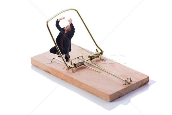 üzlet csapda üzletember izolált fehér szabadság Stock fotó © hyrons