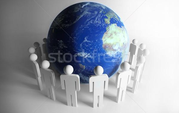 Insanlar etrafında gezegen dünya iş Stok fotoğraf © hyrons