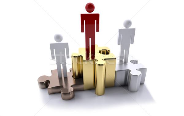 Vezető pódium puzzle első hely arany tömeg Stock fotó © hyrons