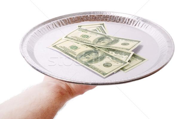 Pénz felszolgált adag felfelé tányér izolált Stock fotó © hyrons