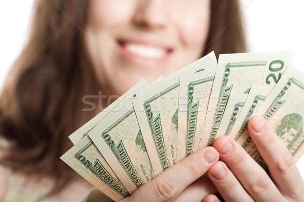 Dólar moeda mão financiar empresárias Foto stock © ia_64