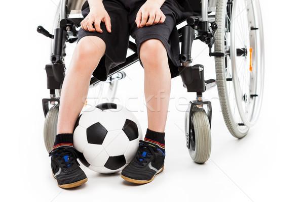 özürlü çocuk erkek oturma tekerlekli sandalye Stok fotoğraf © ia_64