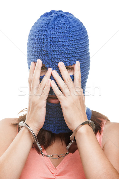 Woman in balaclava hiding face Stock photo © ia_64