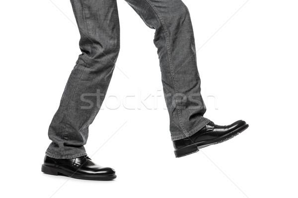 Mann Schuhe Fuß Schritt Geschäftsmann schwarz Stock foto © ia_64