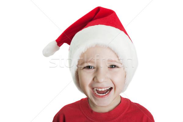 Dziecko Święty mikołaj hat mały christmas wakacje Zdjęcia stock © ia_64