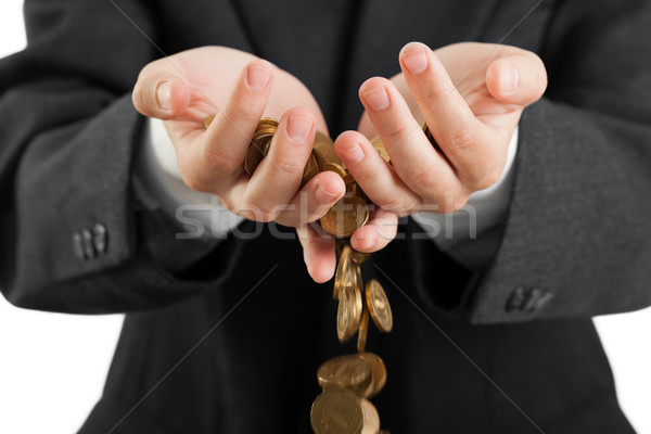 Munten handen zakenmannen financieren valuta Stockfoto © ia_64