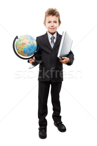 Gyermek fiú üzlet öltöny tart Föld Stock fotó © ia_64