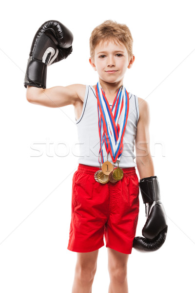 Lächelnd Boxen Champion Kind Junge gestikulieren Stock foto © ia_64