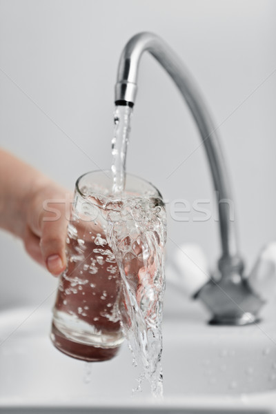 Glass pouring fresh drink water Stock photo © ia_64