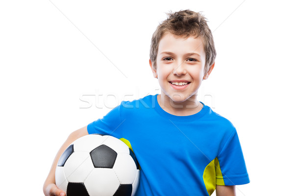 Bonito sorridente criança menino futebol Foto stock © ia_64