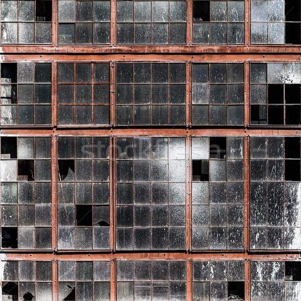 Régi épület fal koszos törött ablakok üveg Stock fotó © ia_64