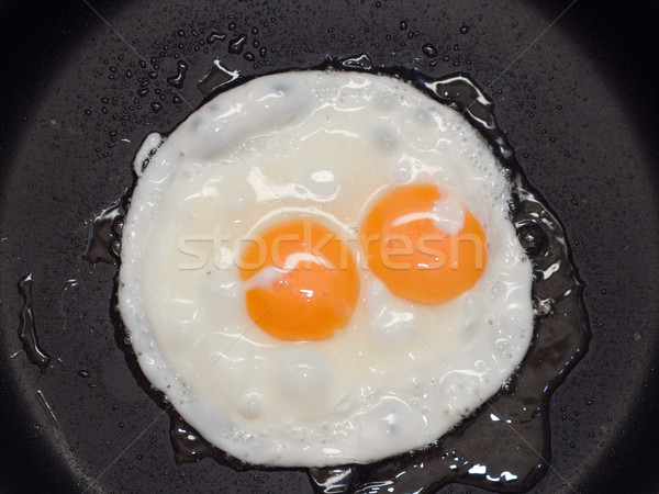 Sahanda yumurta pişmiş gıda yeme kahvaltı yemek Stok fotoğraf © ia_64