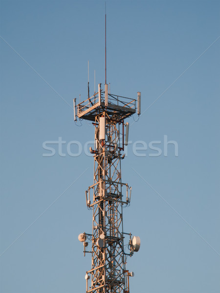 Anten kule iletişim televizyon teknoloji mavi Stok fotoğraf © ia_64