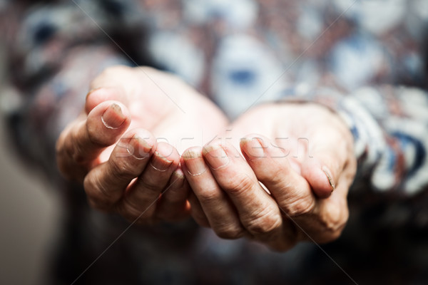 Senior person hands begging for food or help Stock photo © ia_64