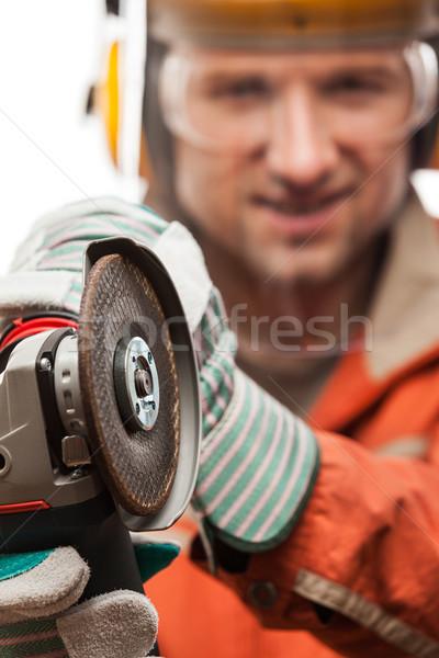 Mérnök utasítás munkás férfi biztonság munkavédelmi sisak Stock fotó © ia_64